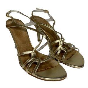 STUART WEITZMAN Gold Hiturn Heeled Sandal Size 7.5
